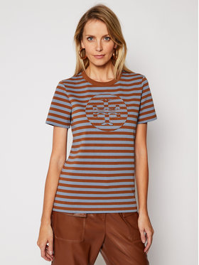 Tory Burch Tory Burch T-Shirt Striped Logo 63871 Brązowy Regular Fit