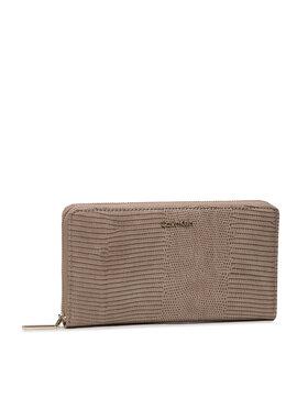 Calvin Klein Calvin Klein Portefeuille femme grand format Ck Must Z/A Wallet Xl Lizard K60K608575 Beige