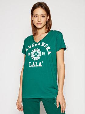 PLNY LALA PLNY LALA T-shirt Warszawska Lala PL-KO-VN-00150 Zelena Regular Fit