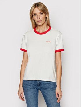 Wrangler Wrangler T-shirt Ringer W7S0DRR06 Bijela Relaxed Fit
