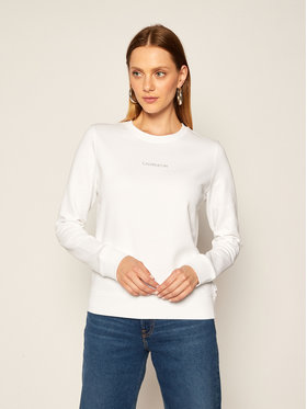 Calvin Klein Calvin Klein Mikina Ls 3D Metallic Logo K20K202236 Bílá Regular Fit