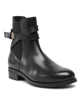 Tommy Hilfiger Tommy Hilfiger Členková obuv Th Hardware On Belt Flat Boot FW0FW05967 Čierna