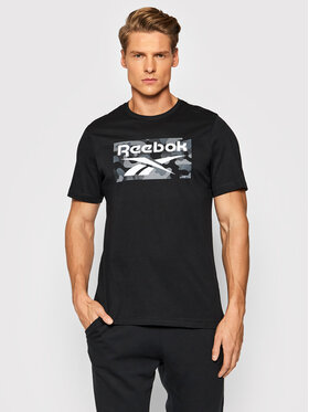 Reebok Reebok T-Shirt Camo HA6313 Czarny Regular Fit