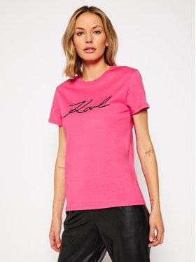 KARL LAGERFELD KARL LAGERFELD Póló Logo Rhinestone 206W1707 Rózsaszín Regular Fit