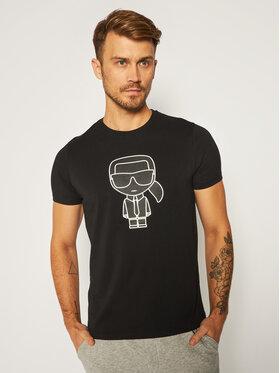 KARL LAGERFELD KARL LAGERFELD T-Shirt Crewneck 755080 502224 Czarny Regular Fit