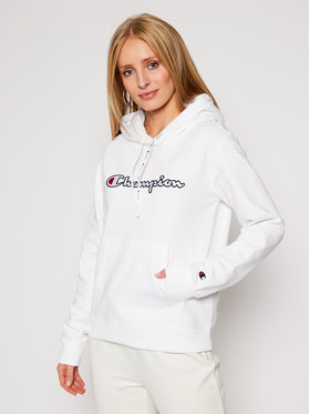 Champion Champion Mikina Script Logo Fleece 113185 Bílá Regular Fit