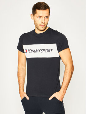 Tommy Sport Tommy Sport T-Shirt Colourblock Logo S20S200375 Σκούρο μπλε Regular Fit
