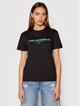 KARL LAGERFELD KARL LAGERFELD Tricou Rsg Address Logo 215W1706 Negru Regular Fit