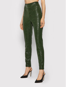 Guess Guess Spodnie z imitacji skóry Priscilla W1BB08 WE5V0 Zielony Extra Slim Fit