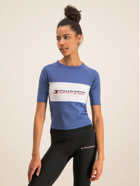 Tommy Sport Tommy Sport Тишърт Tight Tee S10S100397 Син Cropped Fit