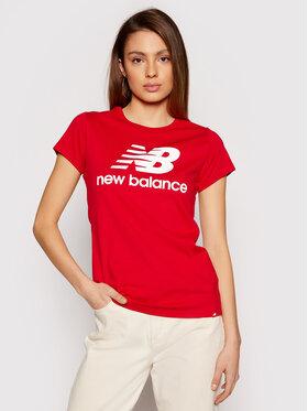 New Balance New Balance Marškinėliai Essentials Stacked Logo WT91546 Raudona Athletic Fit