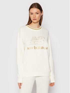 New Balance New Balance Bluza Lurex Crew WT13505 Beżowy Relaxed Fit