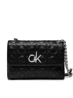 Calvin Klein Calvin Klein Дамска чанта Re-Lock Ew Conv Flap Xbody Quilt K60K608585 Черен