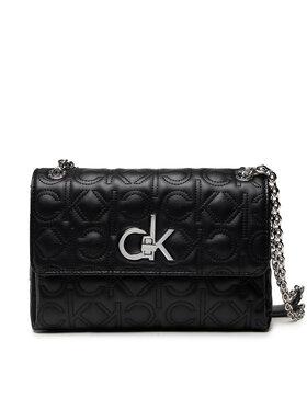 Calvin Klein Calvin Klein Kabelka Re-Lock Ew Conv Flap Xbody Quilt K60K608585 Čierna