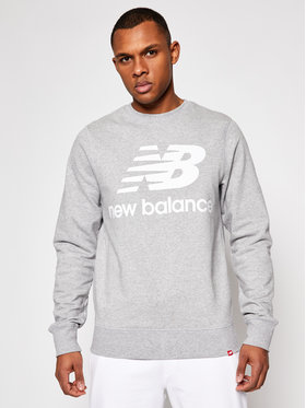 New Balance New Balance Majica dugih rukava Essentials Stacked Logo Crew MT03560AG Siva Athletic Fit