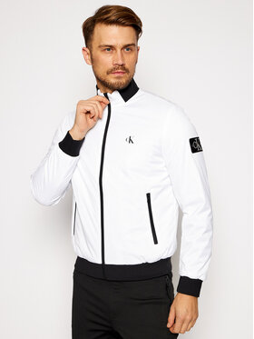 Calvin Klein Jeans Calvin Klein Jeans Μπόμπερ μπουφάν Zip-Up Harrington J30J316615 Λευκό Regular Fit