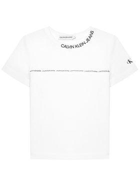 Calvin Klein Jeans Calvin Klein Jeans Marškinėliai Logo Piping Fitted IB0IB00695 Balta Regular Fit