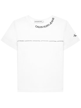 Calvin Klein Jeans Calvin Klein Jeans Tricou Logo Piping Fitted IB0IB00695 Alb Regular Fit