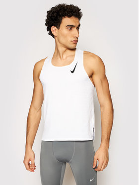 Nike Nike Тениска от техническо трико Aeroswift Singlet CJ7835 Бял Slim Fit