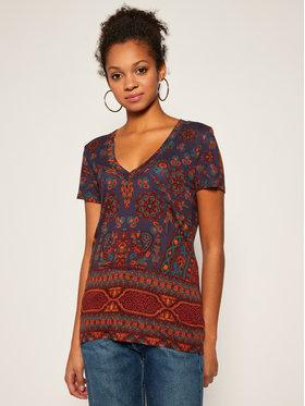 Desigual Desigual T-Shirt Benin 20WWTKAL Fioletowy Slim Fit