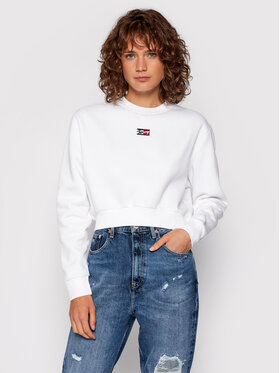 Tommy Jeans Tommy Jeans Mikina Tjw Tiny DW0DW11051 Bílá Cropped Fit