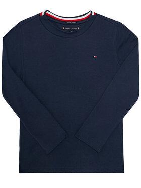 TOMMY HILFIGER TOMMY HILFIGER Bluzka Solid Rib Tee KB0KB06212 D Granatowy Regular Fit