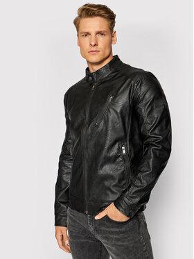 Guess Guess Kožená bunda M1GL55 WDU90 Černá Slim Fit