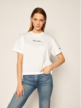 Champion Champion T-shirt Cropped Oversized Small Script Logo 113195 Blanc Custom Fit