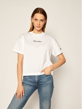 Champion Champion T-Shirt Cropped Oversized Small Script Logo 113195 Weiß Custom Fit