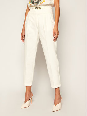 Pinko Pinko Pantalon en tissu Ariel 8 PE 20 PRR 1N12W9 Y6SL Blanc Regular Fit