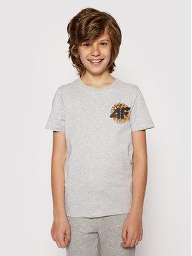 4F 4F T-Shirt HJL21-JTSM012 Grau Regular Fit