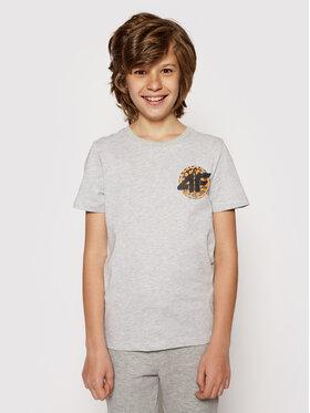 4F 4F T-Shirt HJL21-JTSM012 Šedá Regular Fit
