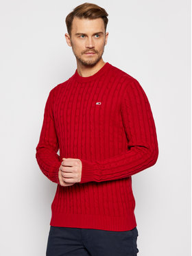 Tommy Jeans Tommy Jeans Maglione Essential Cable DM0DM08807 Rosso Regular Fit