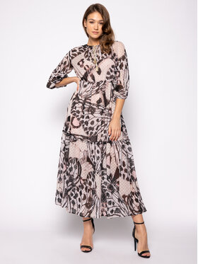 Trussardi Trussardi Koktel haljina Long Fil Coupe Butterfly Print 56D00350 Smeđa Regular Fit