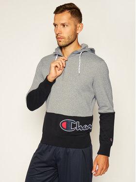 Champion Champion Pulóver Half Zip-Up Colour Block Wraparound Logo Hoodie 214205 Szürke Comfort Fit