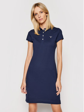 Gant Gant Kleid für den Alltag Original Pique 402300 Dunkelblau Regular Fit