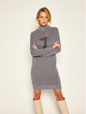 Trussardi Trussardi Úpletové šaty Logo 56D00400 Sivá Regular Fit