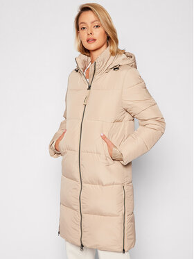 Calvin Klein Calvin Klein Žieminis paltas Elastic Logo Sorona K20K203050 Smėlio Regular Fit