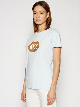 PLNY LALA PLNY LALA Marškinėliai Kiss PL-KO-CL-00185 Mėlyna Classic Fit