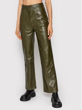 Samsøe Samsøe Samsøe Samsøe Pantaloni din imitație de piele Novah F21300033 Verde Regular Fit