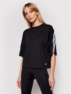 adidas adidas Marškinėliai Future Icons 3-Stripes GN1837 Juoda Loose Fit