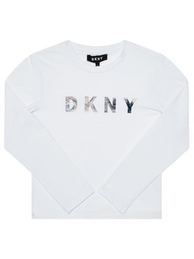DKNY DKNY Bluzka D35Q78 D Biały Regular Fit