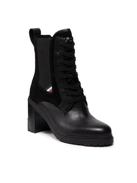 Tommy Hilfiger Tommy Hilfiger Čizme Th Outdoor Heel Lace Up Boot FW0FW05942 Crna