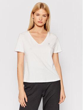 Tommy Jeans Tommy Jeans T-Shirt V Neck DW0DW09195 Bílá Slim Fit