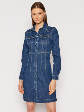 Pepe Jeans Pepe Jeans Sukienka jeansowa Lacey PL952967 Granatowy Slim Fit