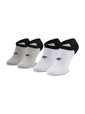 4F 4F Set de 2 perechi de șosete medii pentru bărbați H4L21 SOM001 Alb