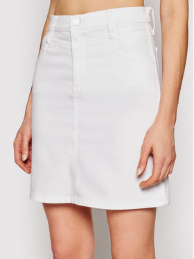 Calvin Klein Calvin Klein Džinsinis sijonas Mid Rise Denim Mini K20K203025 Balta Regular Fit