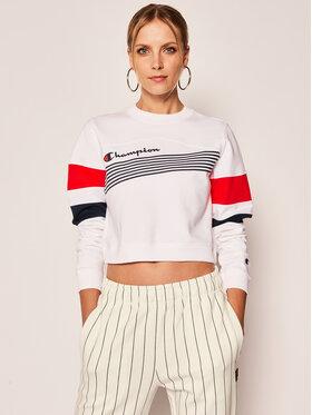 Champion Champion Bluză Graphic Stripe And Colour Block Cropped 112761 Alb Regular Fit