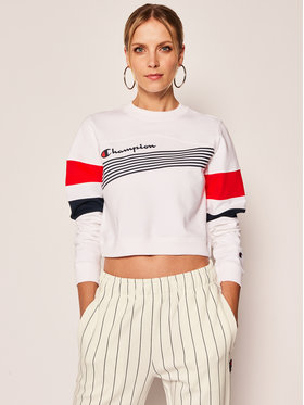 Champion Champion Pulóver Graphic Stripe And Colour Block Cropped 112761 Fehér Regular Fit