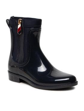 Tommy Hilfiger Tommy Hilfiger Guminiai batai Corporate Zipper Rainboot FW0FW06000 Tamsiai mėlyna